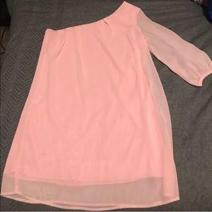Pink Mini One Sleeve Dress